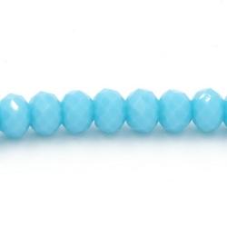 Facet kraal donut lichtblauw 3x4mm (streng)