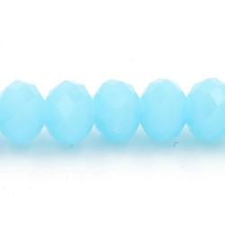 Facet kraal donut lichtblauw 4x6mm (streng)