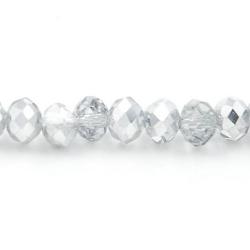 Facet kraal donut zilver/crystal 3x4mm (streng)