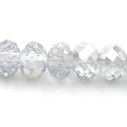 Facet kraal donut zilver/crystal 4x6mm (streng)