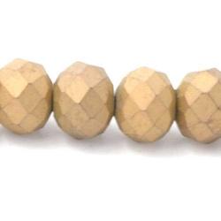 Facet kraal donut mat goud 4x6mm (streng)