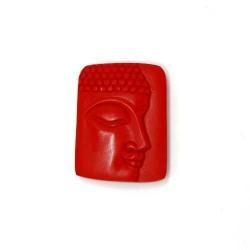 Halfedelsteen hanger Boedha rood 46x36mm (1 st.)