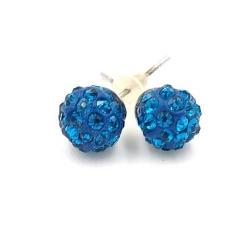 Oorstekers rond blauw strass 10mm (1 paar)