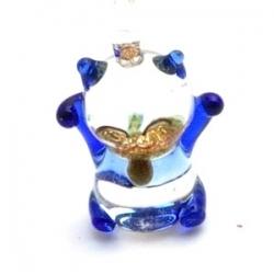 Hanger, handgemaakt, glas, poes, donkerblauw, 26 mm (1 st.)