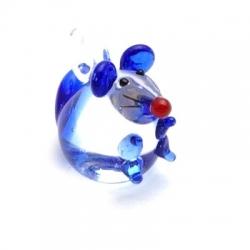 Hanger, handgemaakt, glas, muis, donkerblauw, 20 mm (1 st.)