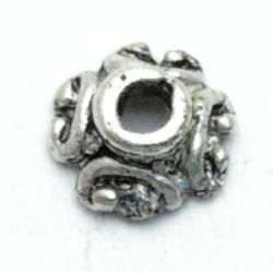 Metaal, kralenkapje, zilver, 3 x 7 mm (10 st.)