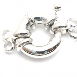 Boeislot, zilver, 2-rijgogen, 16 mm (3 st.)