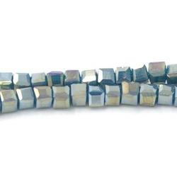 Facet kraal blokje petrol AB 3 mm (100 st.)