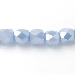 Facet kraal tonnetje blauw AB 6x4mm (72 st.)
