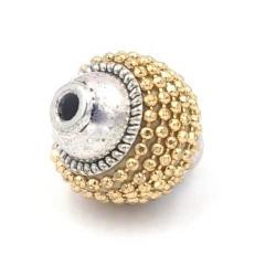 Kashmiri kraal ovaal goud zilver 16x14mm (3 st.)