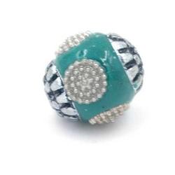 Kashmiri kraal rond groen zilver 12mm (3 st.)