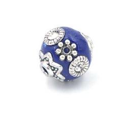 Kashmiri kraal rond blauw zilver 12mm (3 st.)