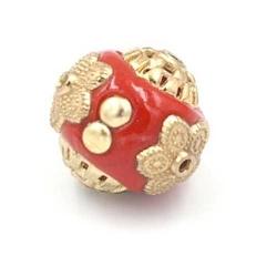 Kashmiri kraal rond rood goud 14mm (3 st.)