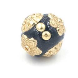 Kashmiri kraal rond zwart goud 14mm (3 st.)