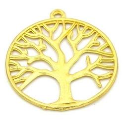 Metaal hanger levensboom goud 37mm (1 st.)