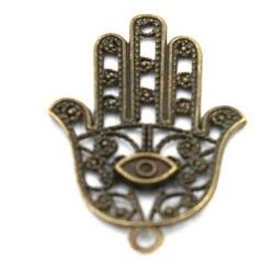 Metaal bedel hand Fatima antique goud 42mm (3 st.)