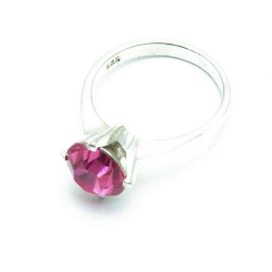 Ring, Sterling zilver, roze steen, maat 19 (1 st.)