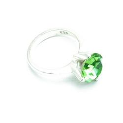 Ring, Sterling zilver, groene zirkonia, maat 19 (1 st.)