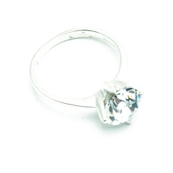 Ring, Sterling zilver, witte zirkonia, maat 20 (1 st.)