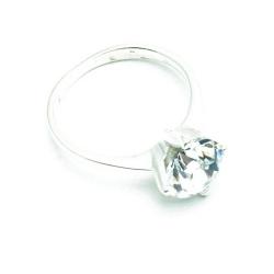 Ring, Sterling zilver, witte zirkonia, maat 19 (1 st.)
