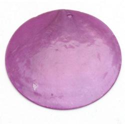 Schelp kraal, hanger, rond, paars, 45 mm (1 st.)