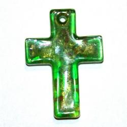 Hanger, kruis, groen met goudfolie, 42 x 30 mm (1 st.)