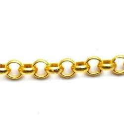 Jasseron ketting, goud, rond, 8 mm 1 mtr.)