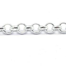 Jasseron ketting, zilver, rond, 3 mm (2 mtr.)