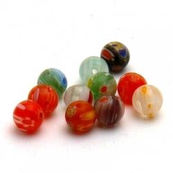 Glaskraal, rond, millifiori, diverse kleuren, 7 mm (15 st.)