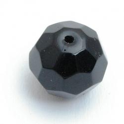 Glaskraal, rond met facetten, zwart, 14 mm (5 st.)