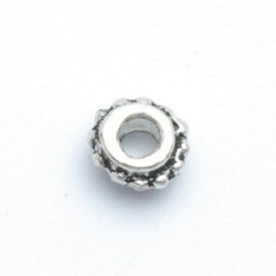 Metaal, spacer, zilver, 6 mm (20 st.)