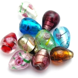 Mix, Glaskraal/zilverfolie, druppel, div. kleuren, 18 mm (5 st)