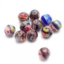 Glaskraal, rond, millifiori, bruin, 8 mm (15 st.)