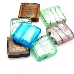 Glaskraal, vierkant, diverse kleuren met zilverfolie, 20 mm (5 st)