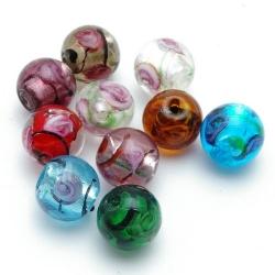 Glaskraal, rond, diverse kleuren met zilverfolie, 12 mm (8 st)