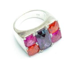 Ring, Sterling zilver, paars/roze/oranje stenen, maat 16 (1 st.)