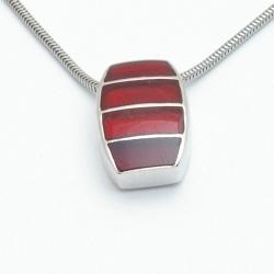 Ketting, Sterling zilver met hanger in roodtingen (1 st.)
