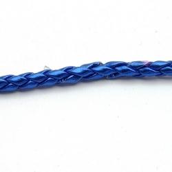 Rond gevlochten kunstleer, metallic blauw, 4mm (1 mtr.)