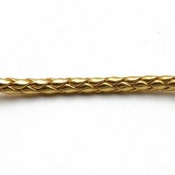 Rond gevlochten kunstleer, metallic goud, 4mm (1 mtr.)