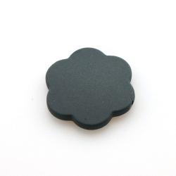 Rubber kraal, bloem, zwart, 34 mm (5 st.)