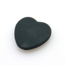 Rubber kraal, hart, zwart, 28 mm (10 st.)