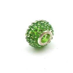 Pandora Style, kraal, strass, groen, 14 mm (1 st.)
