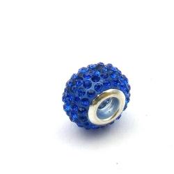 Pandora Style, kraal, strass, blauw, 14 mm (1 st.)