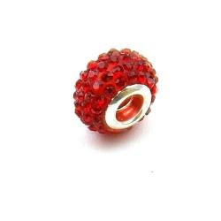 Pandora Style, kraal, strass, rood, 14 mm (1 st.)