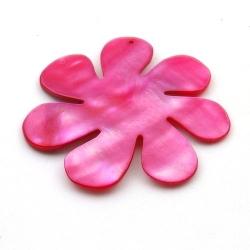 Schelp, hanger, bloem, rood, 48 mm (1 st.)