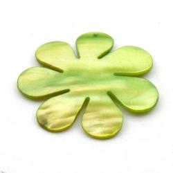 Schelp, hanger, bloem, groen, 48 mm (1 st.)