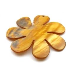 Schelp, hanger, bloem, bruin, 48 mm (1 st.)