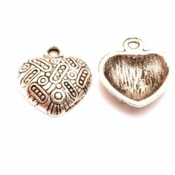 Metaal, bedel, hart, zilver, 18 mm (5 st.)