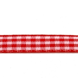 Lint, ruit, rood/wit, 10 mm (3 mtr.)
