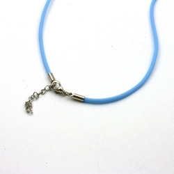 Ketting, rubber, lichtblauw, 2 mm (1 st.)